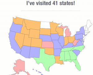 Color Coded by time we spent in each state.  Some just passed thru, and others we stayed a while.