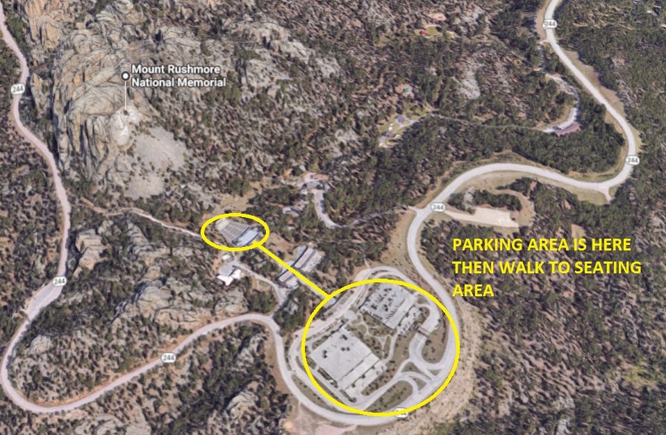 Mt Rushmore Parking to Seating areal view.
